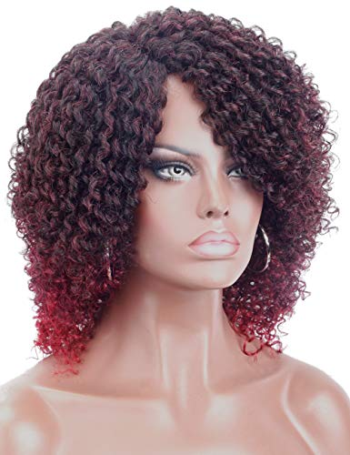 Kalyss 2 Tones Ombre Black to Wine Red Synthetic Afro Kinky Curly Wigs for Black Women Natural Looking Curved Parting Daily Wear Wig