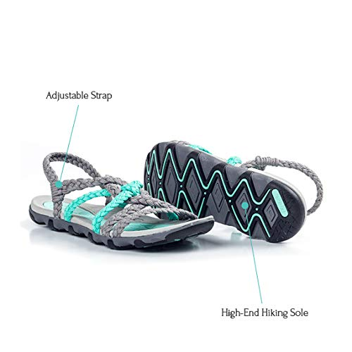 Pictures of Plaka Hiking SandalsWomen Urban Gray Turquoise Size 5