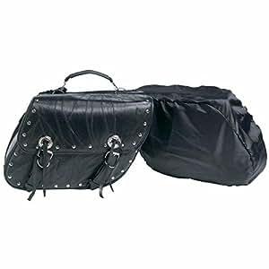 2pc Rock Design Genuine Buffalo Leather Motorcycle Saddle Bag Set