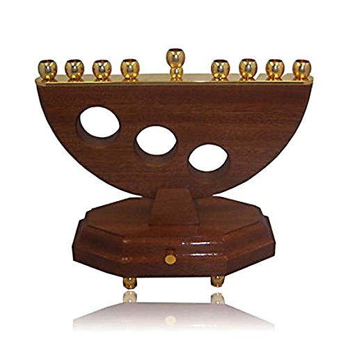 Hanukkah Chanuka Menorah Hanukkia Musical Wood & Brass Menorah Made In ISRAEL. Jewish Art. Great Gift For; Shabbat Chanoka Rabbi Temple Wedding Baby Naming Housewarming Bar Mitzvah Bat Mitzva and Jewish Homes. (Bar Menorah)