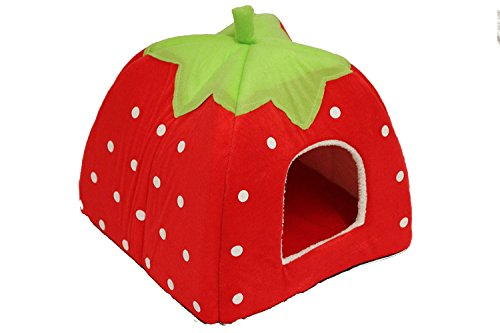 Strawberry Pet igloo bed   House 3 sizes and 3 colours to choose from  (Small cf550efafd0eb