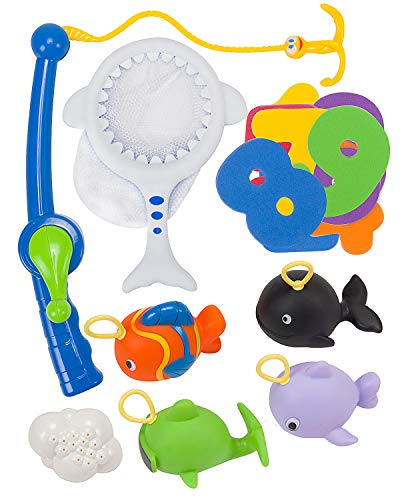 STEAM Life Baby Shark Bath Fishing Game   Educational Bathtub Toy & Fishing Game with Toy Fishing Pole, Baby Shark Net, Fish Toys, and Foam Numbers for Tub and Pool, Toddlers Both Boys and Girls