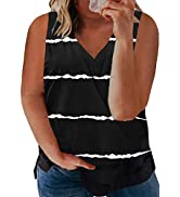Happy Sailed Womens Plus Size Tank Tops Striped V Neck Sleeveless Casual Loose Blouses Shirts(1X-5X)