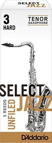 D'Addario Woodwinds Select Jazz Tenor Sax Reeds, Unfiled, Strength 3 Strength Hard, 5-pack