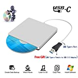 Xglysmyc TYPE-C External CD/DVD - RM Drive External USB-C Superdrive External DVD/CD-RW Burner Writer Player for Latest Mac Pro/ASUS/DELL Laptop and so on with TYPE-C Port Plug and Play(Silver)