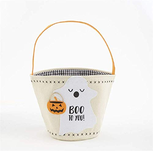 Mud Pie Halloween Ghost Canvas Candy Bag, 14-inch x 8-inch Diameter -