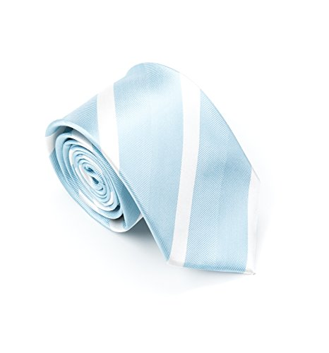 Blue Stripe Silk Tie (Better Fellow The Sky Men's Fashion Slim 100% Silk Tie - Light Blue White Stripes)