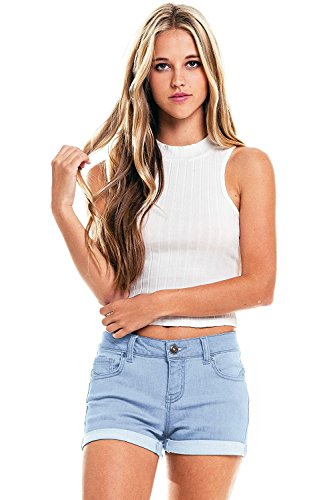 Wax Women's Juniors Perfect Fit Mid-Rise Denim Shorts (L, Light Denim)