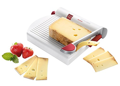 Westmark Germany Multipurpose Stainless Steel Cheese and Food Slicer with Board and Adjustable Thickness Dial (White)