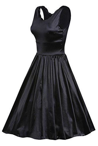 EOZY Femme Empire Robe Noir Col V Sans Manche Swing Robe Causal Party