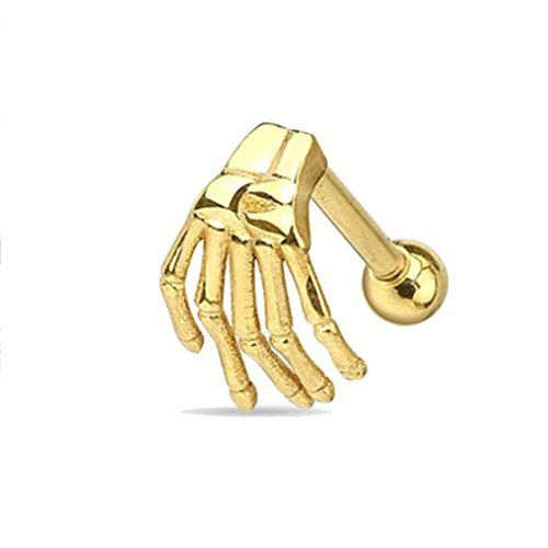 Cyber Monday GreatFun 1 Piece Punk Cool Stainless Steel Earring Skeleton Ghost Hand Ear Tragus Piercing Body Jewelry (Gold)