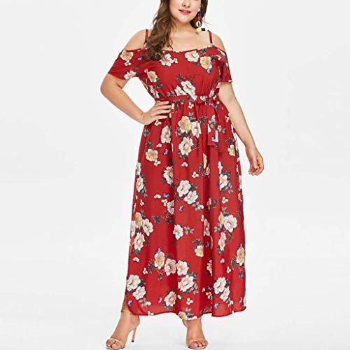 Leewos 2018 New Summer Plus Size Dresses,Women Casual Floral Pattern Off Shoulder V Neck Bandage Irregular Slit Long Dress