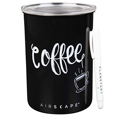 Airscape Stainless Steel Coffee Storage Canister with Writer Pen (1 lb Dry Beans) - Customize, Write and Label with Removable Ink - Patented Airtight Container Lid Releases CO2 - Obsidian Black