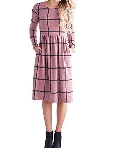 PRIMODA Women's Long Sleeve Grid Tunic Midi Dress Casual Empire Waist Knee Length Dresses with Pockets(Pink,XL) (Grace Womens Pink T-shirt)