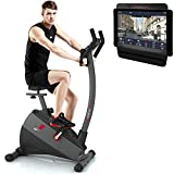 Sportstech Exercise Bike ESX500 with smartphone app control + 12KG inertia, pulse belt compatible – fitness bike hometrainer with low-noise belt drive system