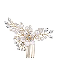 BriLove Women's Wedding Bridal Crystal Simulated Pearl Hibiscus Flower Hair Comb Clear Gold-Tone