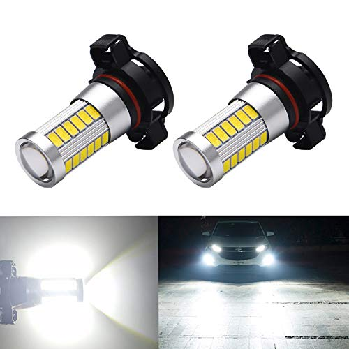Anourney 2PCS 2504 PSX24W Led Fog Lights Bulbs with HD Glass Projector Lens, High Power 9W 33-EX 5730 Chipsets 2504 12276 Fog Bulb, 9V-30V 6500K White 12276 PSX24W 2504 Fog Lights for Cars, Trucks