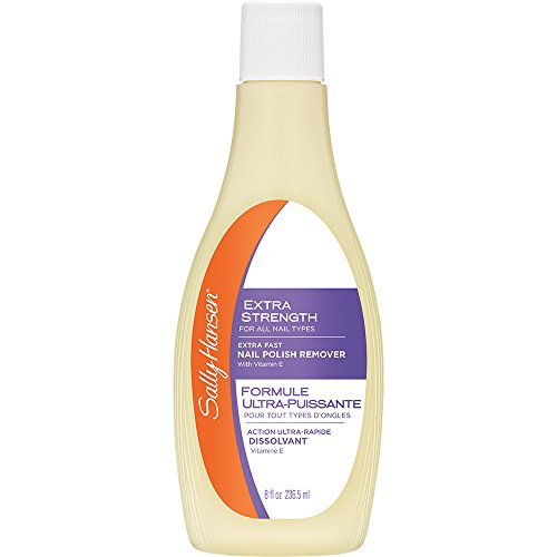 Nail Enamel Remover (Sally Hansen Extra Strength, Fast Polish Remover with Vitamin E, 8 Fluid Ounce)