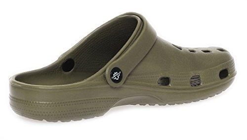 cleostyle Herren Clogs Badeschuhe Gartenschuhe Pantoletten Sandalen Slipper Latschen CL 00260 Olive