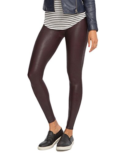 (SPANX Women's Ready-to-Wow Faux Leather Leggings, Wine, Large)