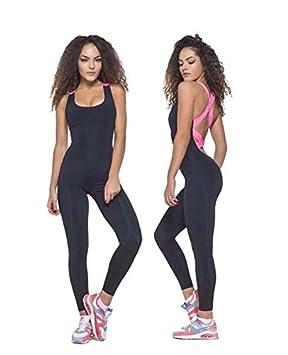 GUFAN Femme Sexy Jumpsuit Body Combinaison Dos Nu de Fitness Sport Yoga  Jogging Gym (Rose 81d2ced456e