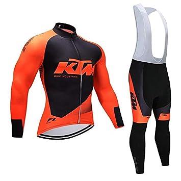 Jersey de Ciclismo para Hombres Conjunto de Ropa Transpirable de Secado rápido de Manga Larga Camisa de Bicicleta + cojín 3D Acolchado a Caballo