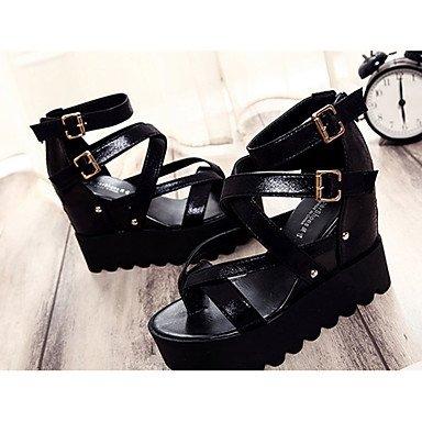 LvYuan Mujer-Tacón Plano-Confort-Sandalias-Vestido Informal-PU-Negro Plata Oro Black