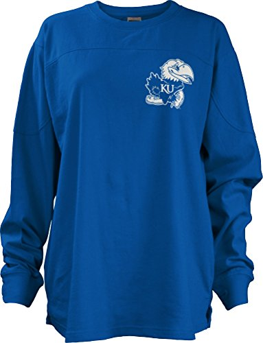 Three Square by Royce Apparel NCAA Kansas Jayhawks Junior's Gridiron Big Shirt, Small, Royal