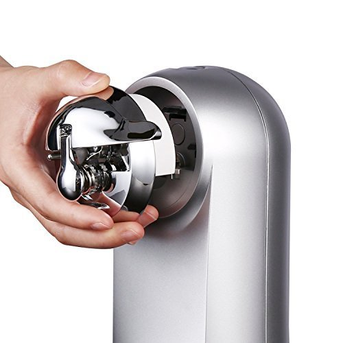 Electric Can Opener with Bottle Opener Pop for Size, Smooth Edge Can Chrome