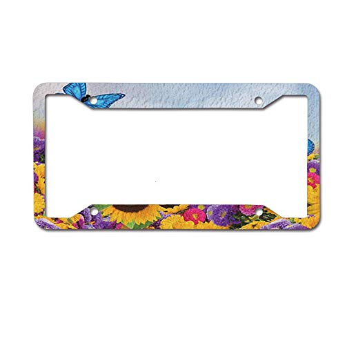 ASUIframeNJK Blue Butterfly Flying Over The Flowers and Sunflowers License Plate Frame, 4 Holes Black License, Car License Plate Frame for US Vehicles