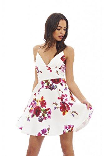 AX Paris Women's Floral Plunge Front Skater Dress(Cream, Size:4)