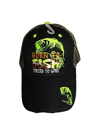 AES Born to Fish Forced Work (Neon Green) Black Face Camouflage Embroidered Cap ()