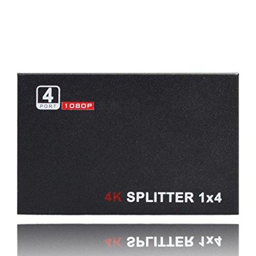 HDMI 4 Connectors Splitter, Gotd Ultra HD 4K 4 Port HDMI Splitter 1x4 Repeater Amplifier 1080P 3D Hub 1 In 4 Out (Black)