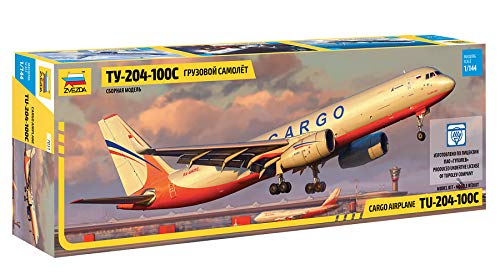 "ZVEZDA 7031 - Russian Cargo Airplane TU-204-100C - Plastic Model Kit Scale 1/144 139 Parts Lenght 14½"" / 36.9 cm 1"