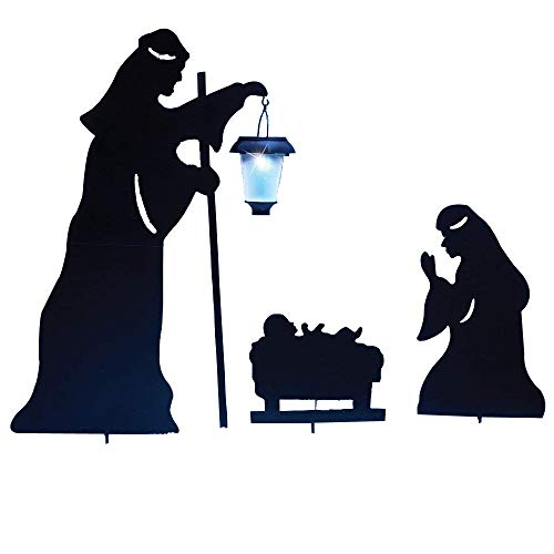 Metal Outdoor Solar Nativity Set Christmas Garden Decoration, Nativity Shadow with LED Lighted Lantern, Yardstakes, 3pcs/Set ()