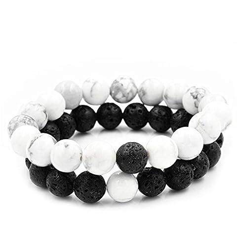 NNDA CO Couples Distance Bracelet Bangle Lava Bead Matching Yin Yang Gift Anniversary (Her Healing Co)