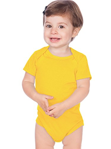 Kavio! Unisex Infants Lap Shoulder Short Sleeve Onesie Jersey (Same IJC0431) Yellow 6M