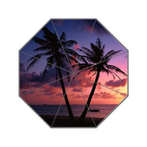 Tropical Hawaii Beach Palm Tree Summer Sunshine Folding Umbrella With Anti-Slip Grip Umbrellas for Business and Travel, Oversize Golf - Maui Factory Outlets