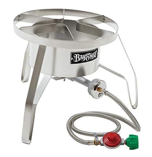 Bayou Classic SS10 Stainless Steel High Pressure Cooker with Windscreen ()