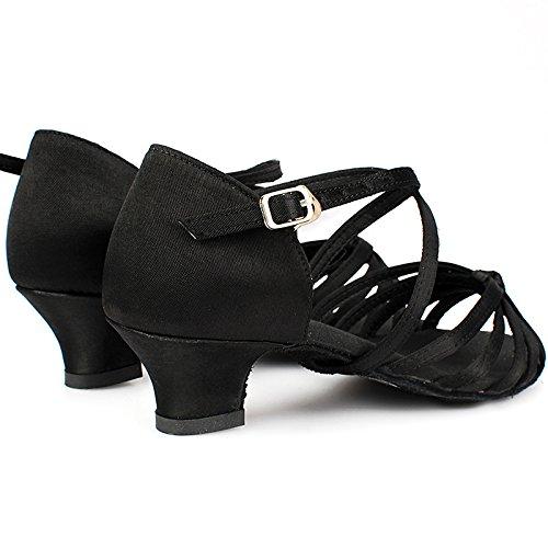 SQIAO-X- Scarpe da ballo Kraft fondo morbida tela fibbia Square Dance Dance Latina, Adulti Professional scarpe da ballo, nero,29