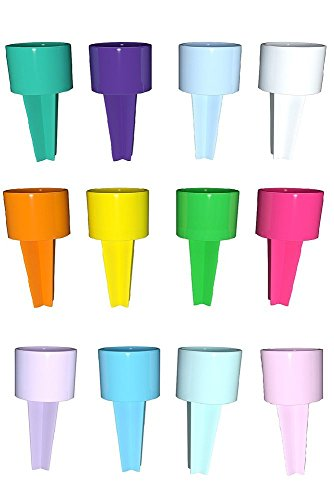 Set of 12 Spiker Beach Beverage Sand Cup Holders : Yellow, Tangerine, Kiwi, Strawberry, Teal, Purple, Carolina Blue, White, Blush, Lilac, Mist & (Purple Sand Beach)