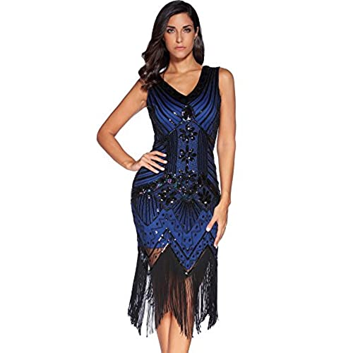 Meilun 1920s Sequined Inspired Beaded Gatsby Flapper Evening Dress Prom (M, Blue)