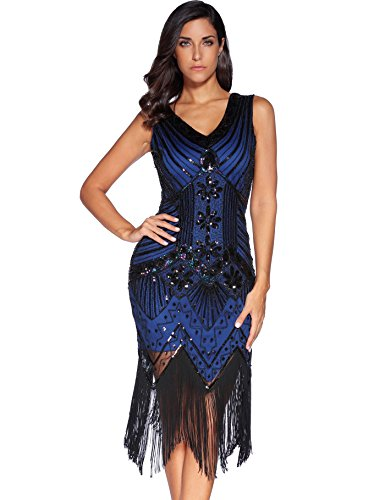 Meilun 1920s Sequined Inspired Beaded Gatsby Flapper Evening Dress Prom (L, Blue) ()