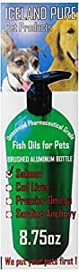 Iceland Pure Unscented Pharmaceutical Grade Salmon Oil For Dogs and Cats.Bottle Size 8.75oz