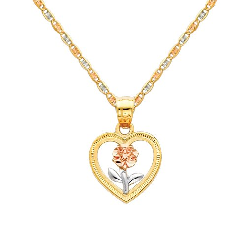 - 14k Tri Color Gold Flower in Heart Charm Pendant with 1.5mm Valentino Diamond Cut Chain Necklace - 22