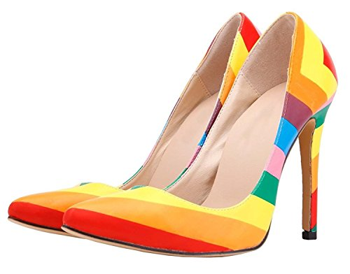 HooH Damen Regenbogen Mehrfarbig High Heel Pumps Mehrfarbig 41 EU FpKbFwjX