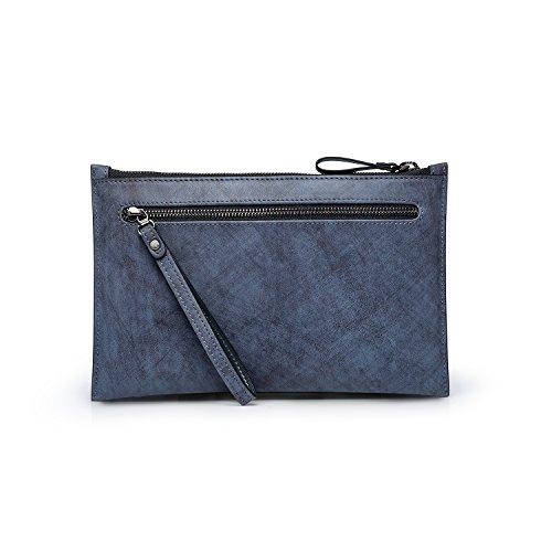 Large Clutch Men's Blue Wallet Leather Cash Holder ZRO Zip Card Checkbook Handbag w1vTT