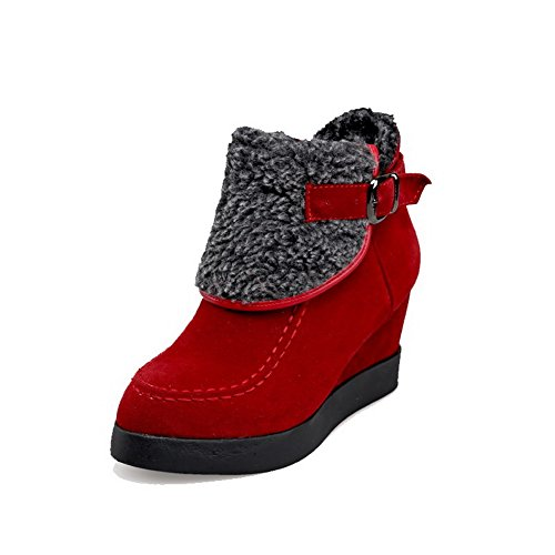 AmoonyFashion Womens Frosted Pull-on Round Closed Toe High-Heels Low-top Boots Red oeFrPdg
