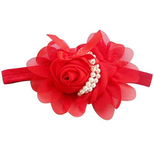 Sunward Girls Headbands Rose Pearl Flower Hair Accessories for Girls Infant Hair Band (Red Girls Hair Band)