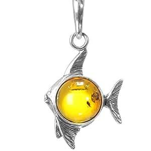 """Calidad 925 colgante de plata """"pescado"""" Natural-Bernstein - colour de la miel - 3,5 cm largo #307"""